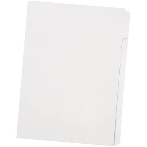 Image for BANTEX MANILLA DIVIDER UNPUNCHED 5 CUT TAB A4 WHITE from Office National Perth CBD