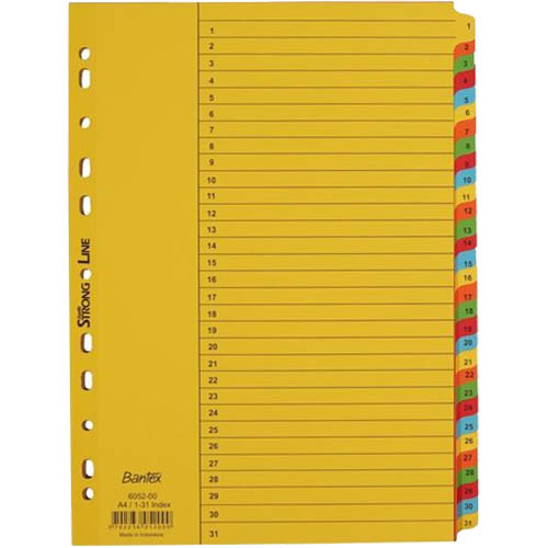 Image for BANTEX MANILLA INDEX DIVIDER 1-31 TAB A4 WHITE from Office National Perth CBD