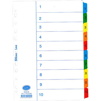 Image for BANTEX MYLAR INDEX DIVIDER 1-10 TAB A4 WHITE from Office National Perth CBD