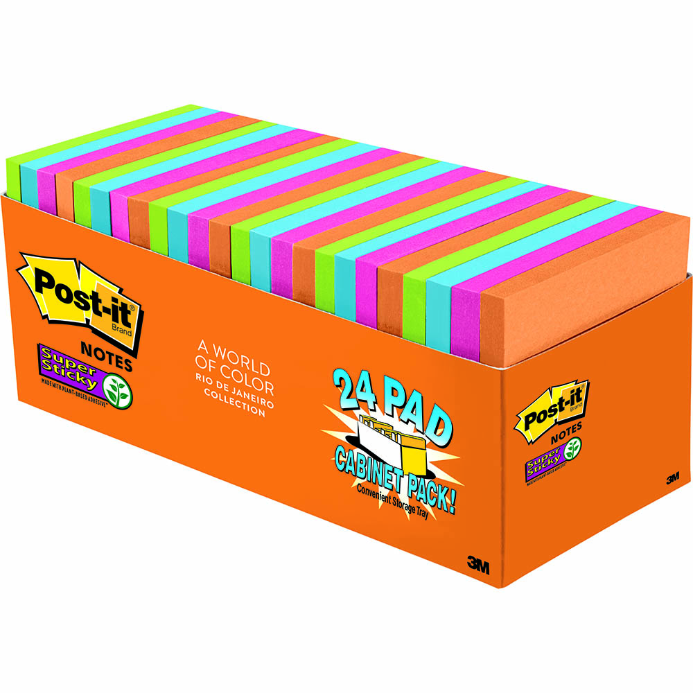 Image for POST-IT 654-24SSAU-CP SUPER STICKY NOTES 76 X 76MM RIO DE JANEIRO CABINET PACK 24 from Mackay Business Machines (MBM)