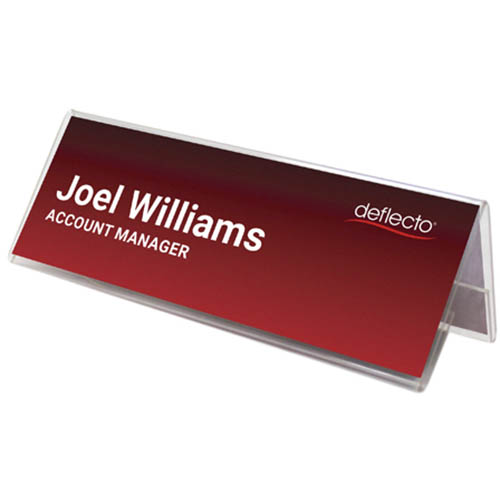 Image for DEFLECTO DESK NAME HOLDER 150 X 55MM CLEAR from Mackay Business Machines (MBM)