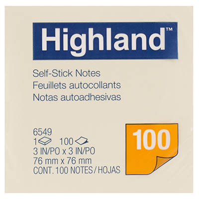 Image for HIGHLAND NOTES 100 SHEETS PER PAD 76 X 76MM YELLOW from Office National Perth CBD