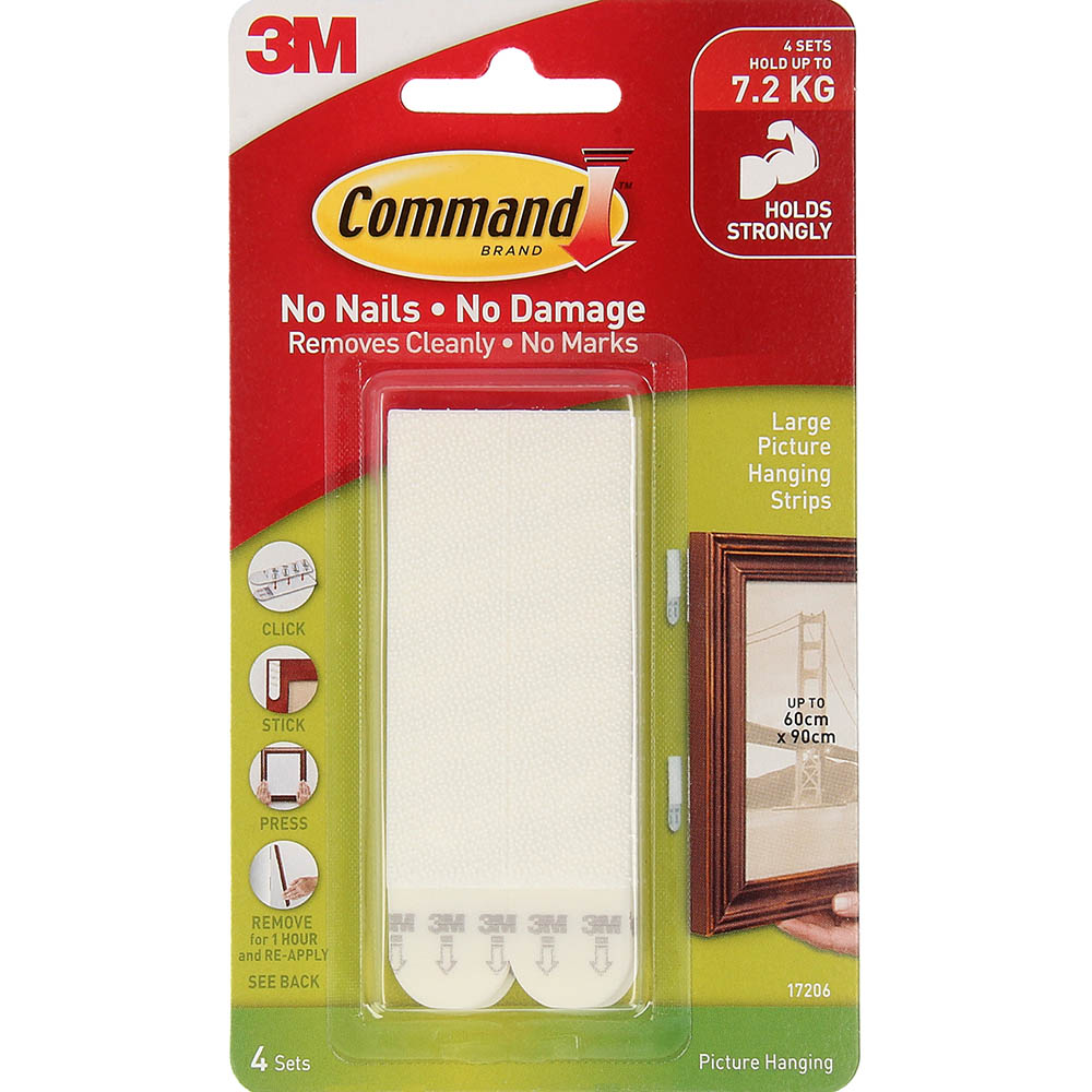 Image for COMMAND PICTURE HANGING STRIP LARGE WHITE PACK 4 PAIRS from Paul John Office National