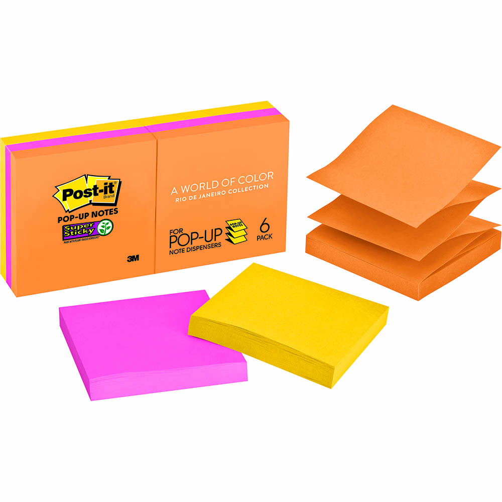 Image for POST-IT R330-6SSUC SUPER STICKY POP UP NOTES 76 X 76MM RIO DE JANEIRO PACK 6 from Office National Perth CBD