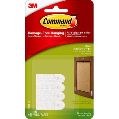 Image for COMMAND PICTURE HANGING STRIP STABILIZER STRIPS WHITE PACK 4 PAIRS from Mackay Business Machines (MBM)