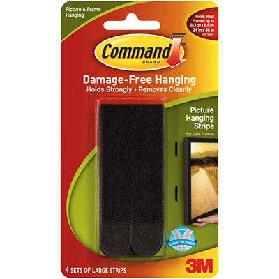 Image for COMMAND PICTURE HANGING STRIPS LARGE BLACK PACK 4 PAIRS from Mackay Business Machines (MBM)