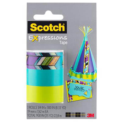 Image for SCOTCH C214 EXPRESSIONS MAGIC TAPE TRIBAL/TURQUOISE/LIME GREEN PACK 3 from Office National Perth CBD