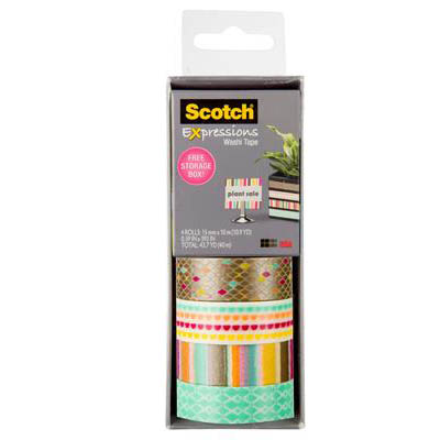 Image for SCOTCH C317-4PK-DIAM EXPRESSIONS WASHI TAPE ASSORTED PACK 4 from Axsel Office National