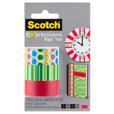 Image for SCOTCH C214 EXPRESSIONS MAGIC TAPE DOTS/LINES/GREEN PACK 3 from Axsel Office National