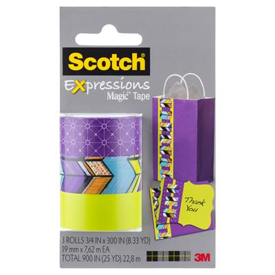 Image for SCOTCH C214 EXPRESSIONS MAGIC TAPE SPOKES/TRIBAL/LIME GREEN PACK 3 from Office National Perth CBD