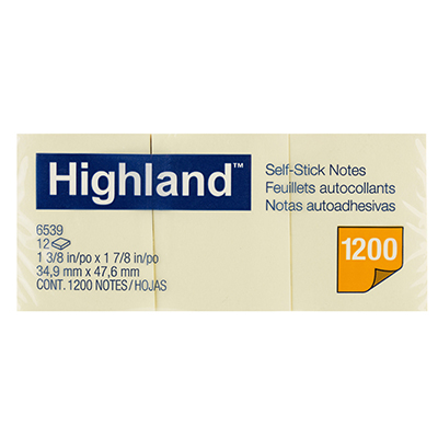 Image for HIGHLAND SELF-STICK NOTES 40 X 50MM YELLOW PACK 12 from Mackay Business Machines (MBM)