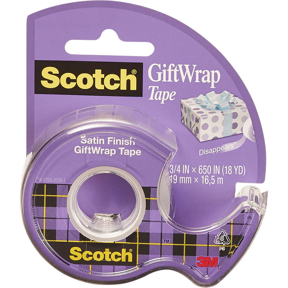 Image for SCOTCH 15L TAPE SATIN GIFTWRAP ON DISPENSER 19MM X 16.5M from Axsel Office National