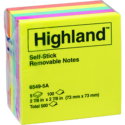 Image for HIGHLAND COLOURED NOTES 100 SHEETS PER PAD 73 X 73MM ASSORTED BRIGHT COLOURS PACK 5 from Memo Office and Art