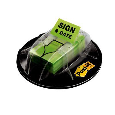 Image for POST-IT 680-HVSD MESSAGE FLAG DESK GRIP DISPENSER SIGN AND DATE BRIGHT GREEN from Office National Perth CBD