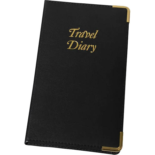 Image for CUMBERLAND TRIP BOOK PU STITCHED 210 X 135MM BLACK WITH GOLD EDGES AND CORNERS from Office National Sydney Stationery