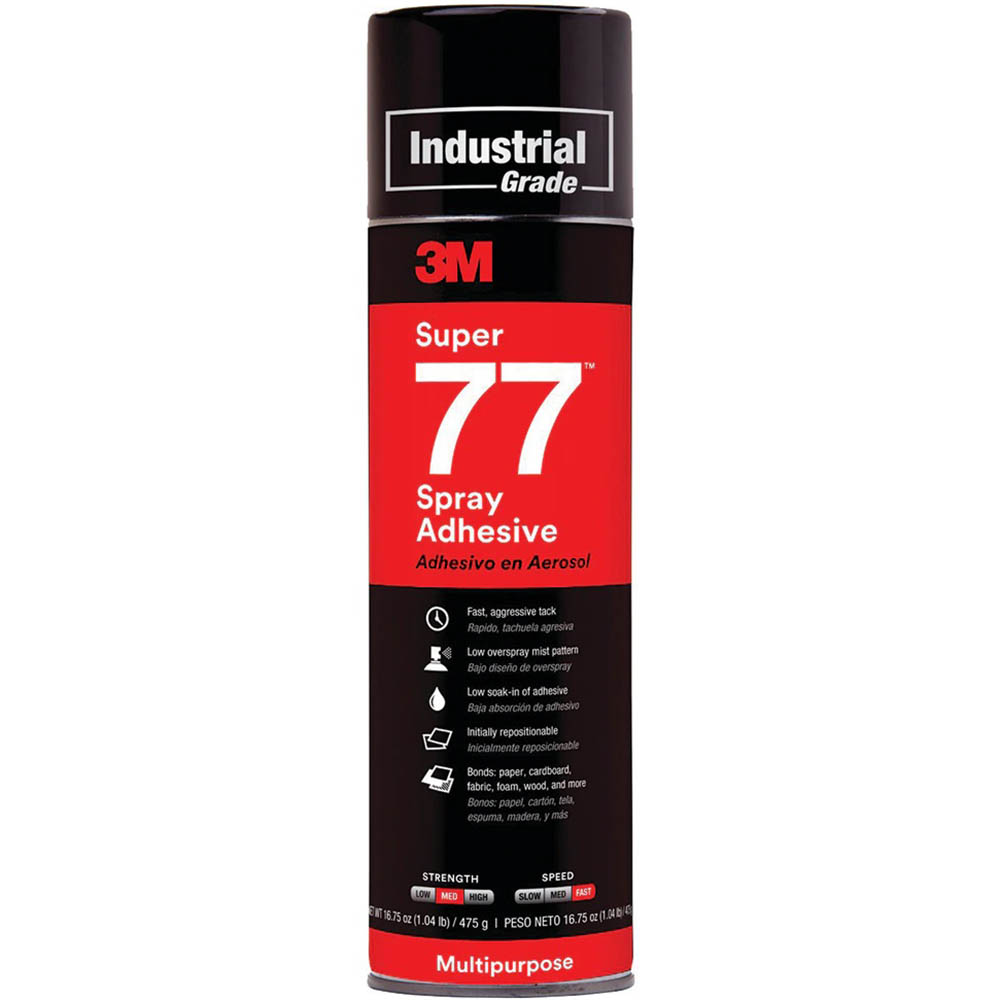 Image for 3M 77 SUPER MULTI-PURPOSE ADHESIVE SPRAY 467G from Surry Office National