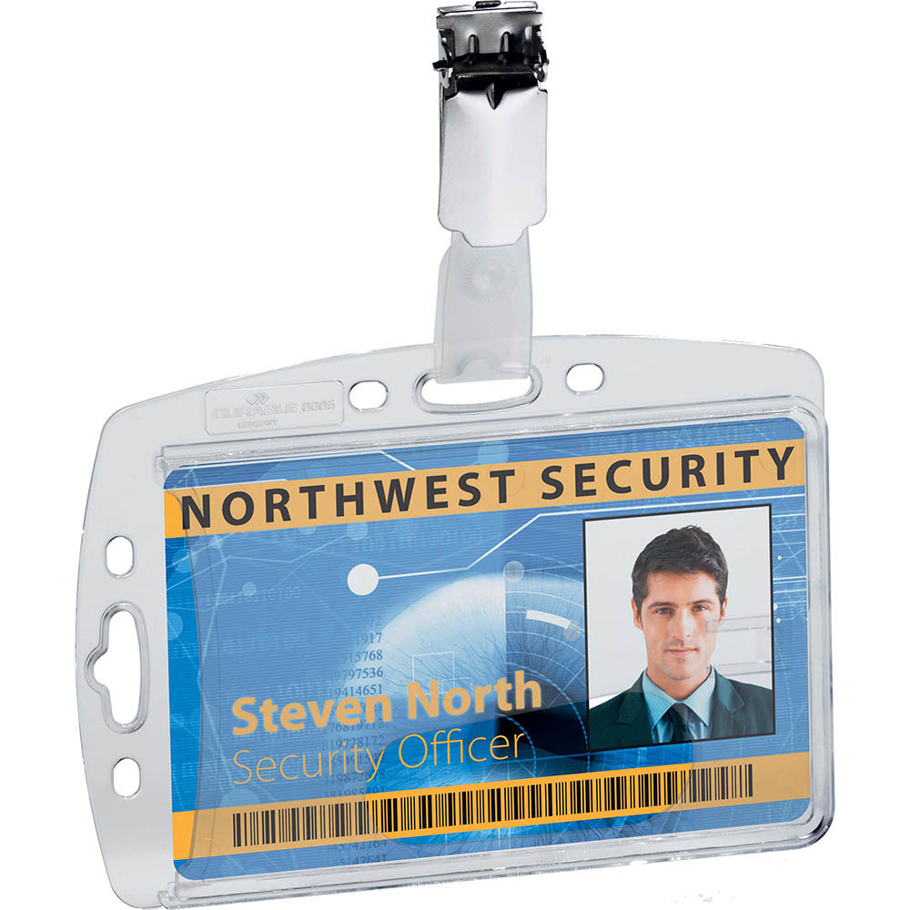 Image for DURABLE ACRYLIC SECURITY PASS HOLDER WITH ROTATING CLIP BOX 25 from Axsel Office National