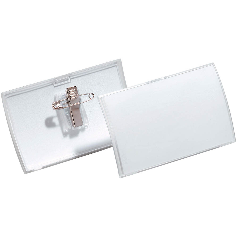 Image for DURABLE CLICK FOLD NAME BADGE WITH COMBI CLIP BOX 25 from Mackay Business Machines (MBM)
