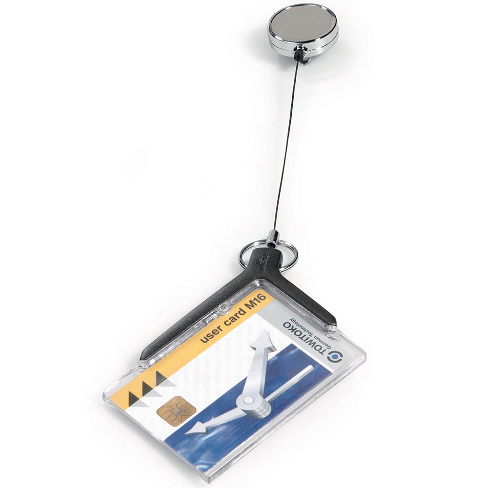 Image for DURABLE CARD HOLDER DELUXE ACRYLIC PRO WITH REEL from Wetherill Park / Smithfield Office National