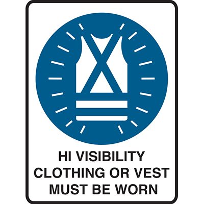 Image for BRADY MANDATORY SIGN MANDATORY SIGN HI VISIBILITY CLOTHING OR VEST MUST BE WORN 450 X 300MM POLYPROPYLENE from Office National Perth CBD