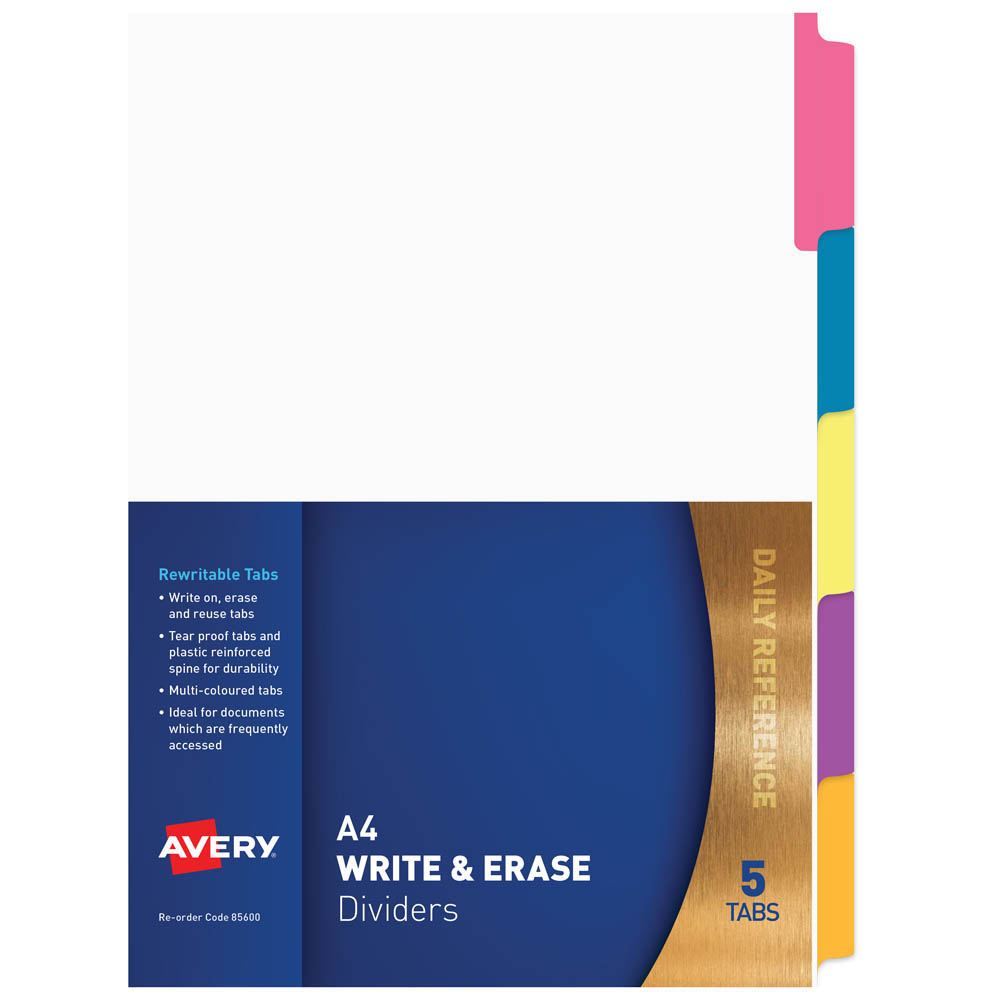 Image for AVERY 85600 DIVIDER MANILLA REUSABLE 5 TAB A4 WHITE from Mackay Business Machines (MBM)