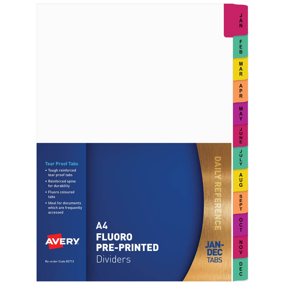 Image for AVERY 85713 DIVIDER PLASTIC TAB JAN-DEC INDEX TAB A4 FLUORESCENT from Office National Perth CBD