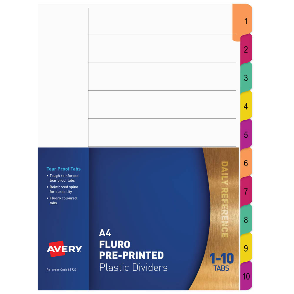 Image for AVERY 85723 DIVIDER PLASTIC 1-10 INDEX TAB A4 FLUORESCENT MULTI COLOURS from Office National Perth CBD