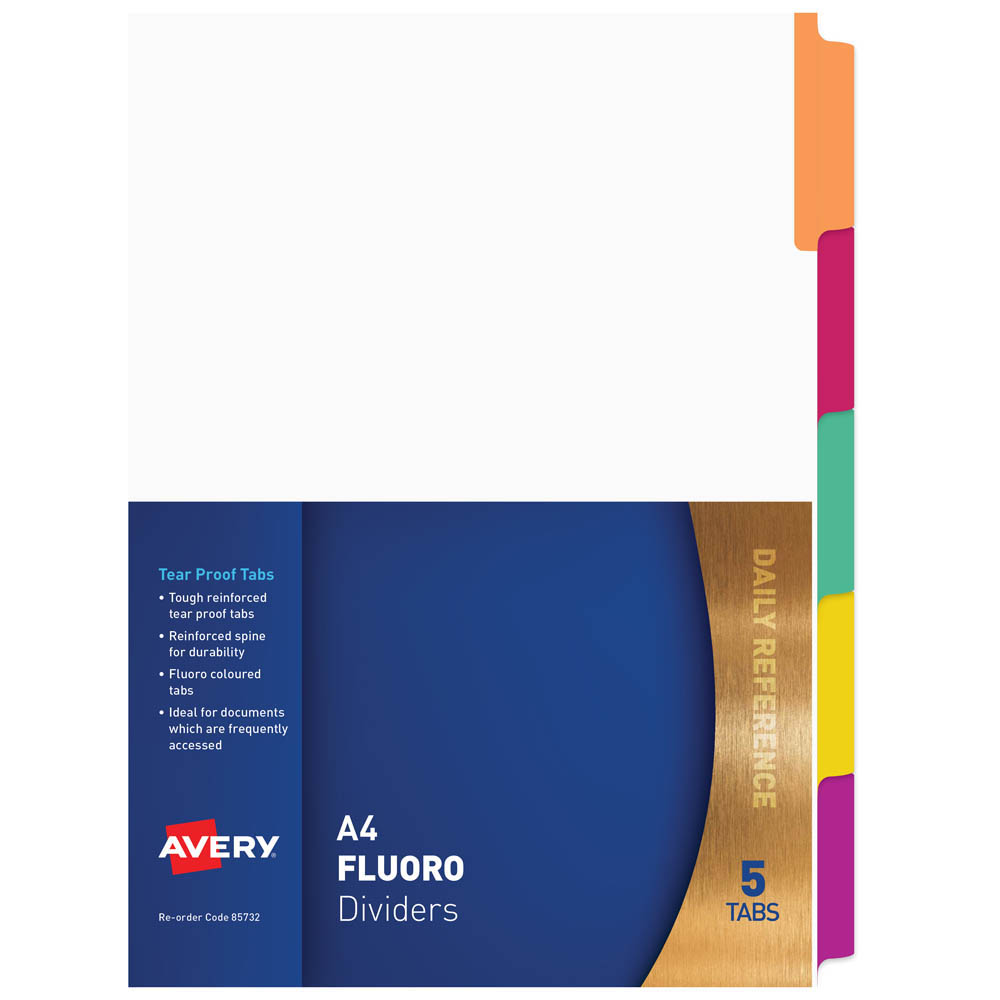Image for AVERY 85732 DIVIDER PLASTIC 5-TAB A4 FLUORESCENT MULTI COLOURS from Office National Perth CBD