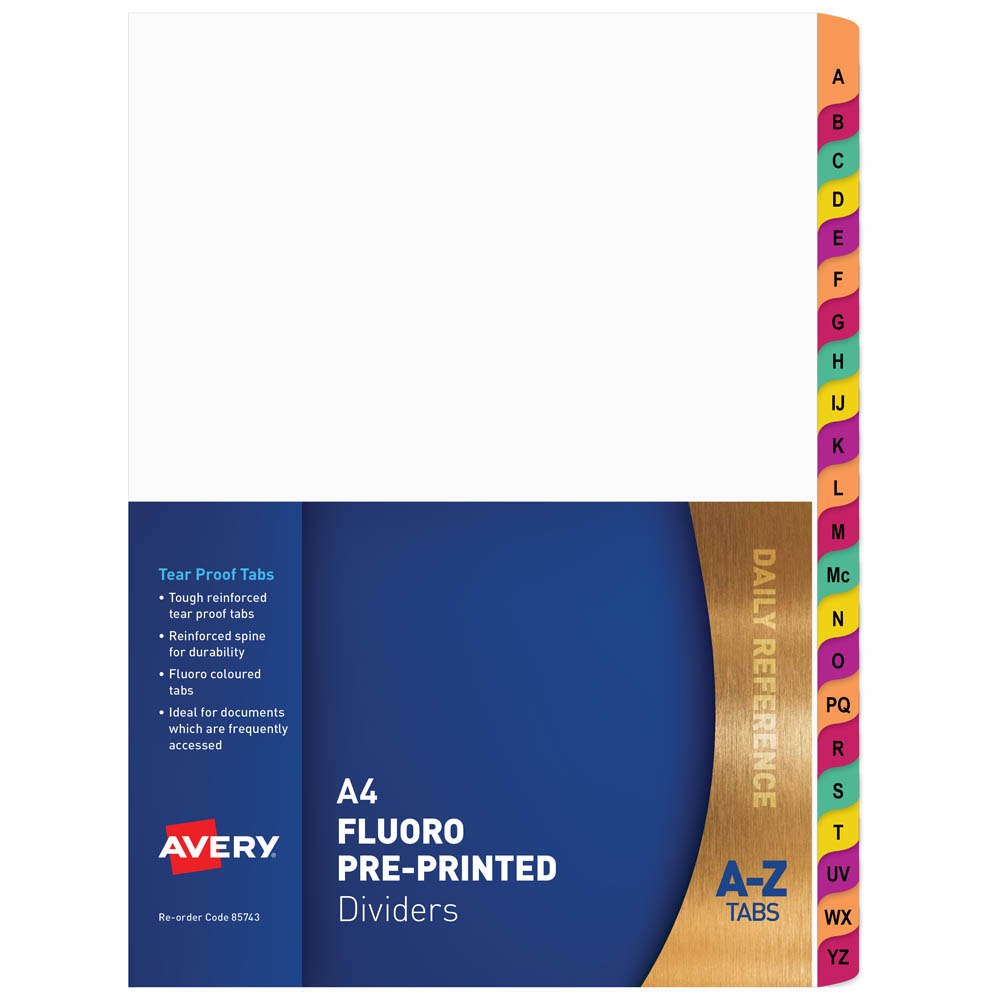 Image for AVERY 85743 DIVIDER PLASTIC A4 A-Z RAINBOW FLUORESCENT TAB from Paul John Office National