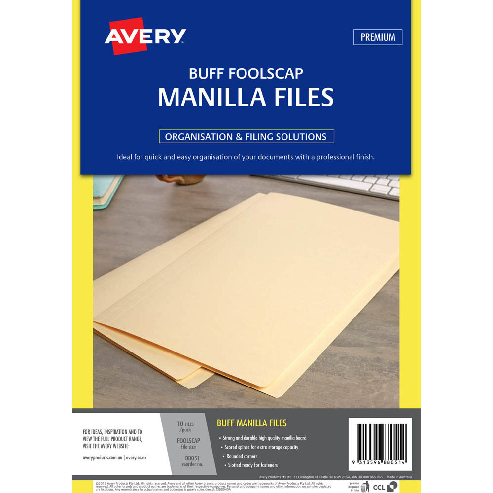 Image for AVERY 88051 MANILLA FOLDER FOOLSCAP BUFF PACK 10 from Axsel Office National