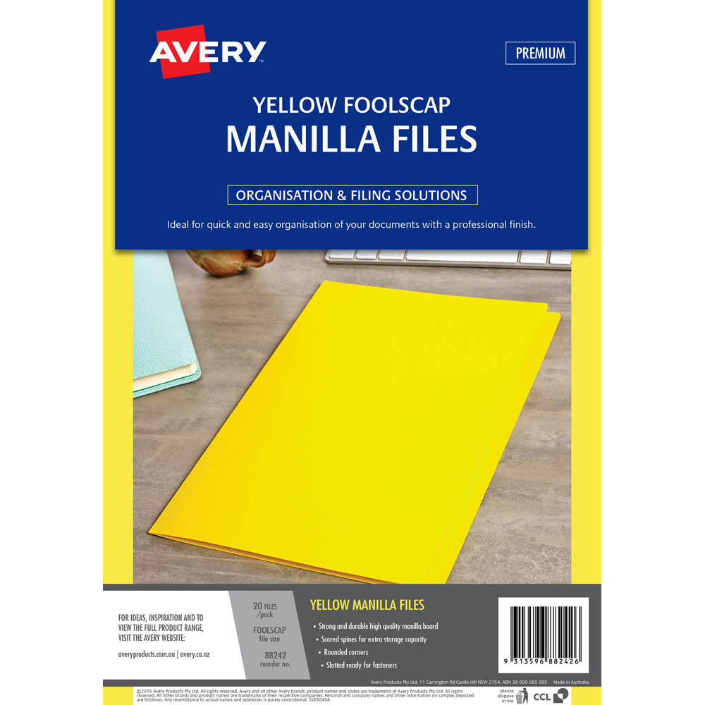 Image for AVERY 88242 MANILLA FOLDER FOOLSCAP YELLOW PACK 20 from Dynamic Office National