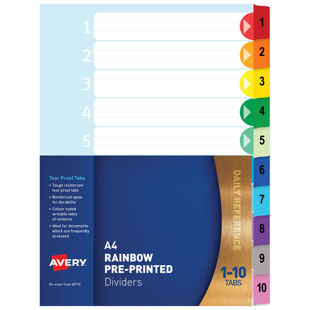 Image for AVERY 88710 DIVIDER PLASTIC 1-10 INDEX TAB A4 RAINBOW from Mackay Business Machines (MBM)