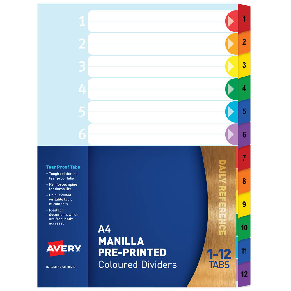 Image for AVERY 88712 DIVIDER PLASTIC 1-12 INDEX TAB A4 RAINBOW from Office National Perth CBD