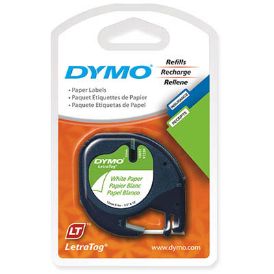 Image for DYMO 92630 LETRATAG LABELLING TAPE PAPER 12MM X 4M BLACK ON PEARL WHITE PACK 2 from Pirie Office National