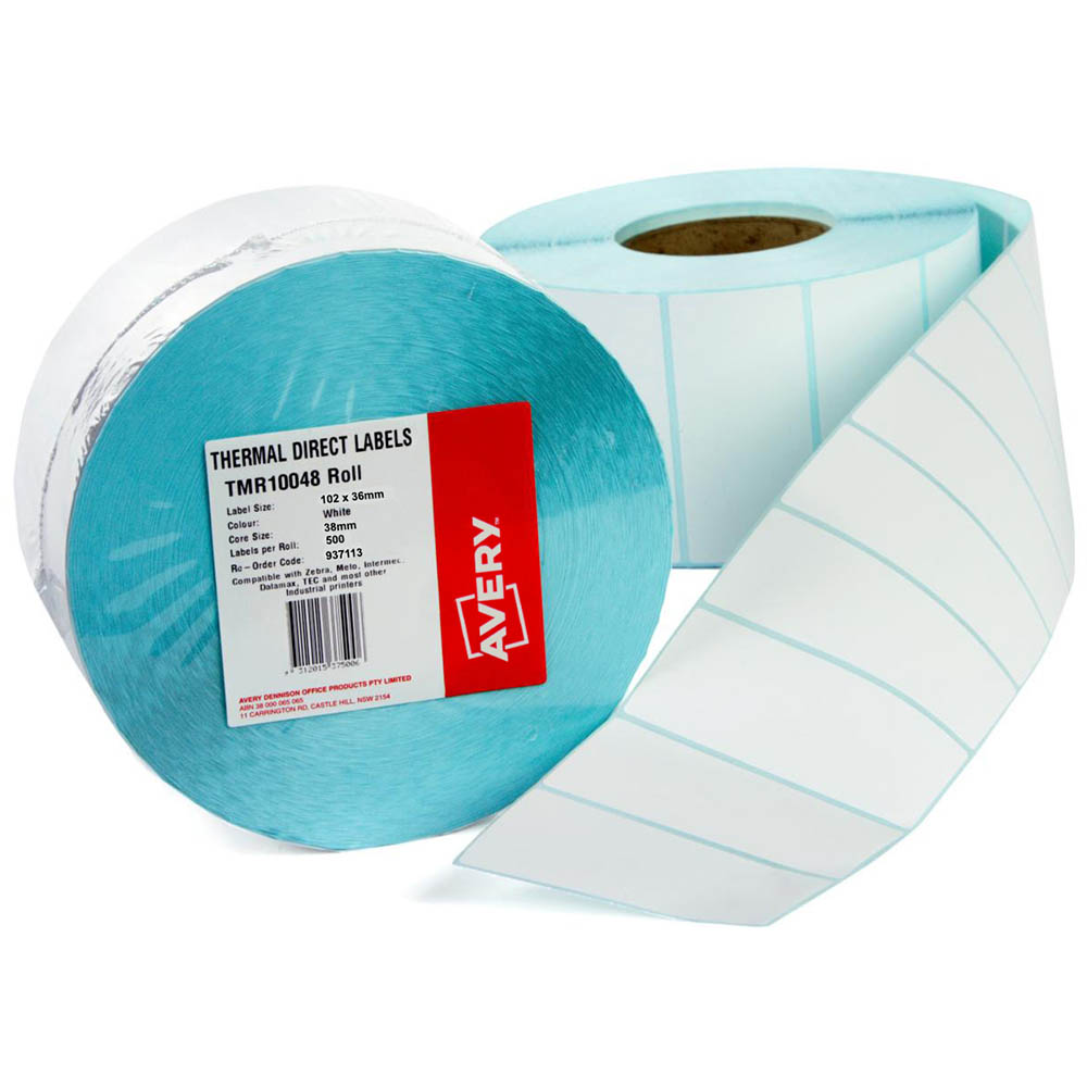 Image for AVERY 937113 DIRECT THERMAL LABELS WITH PERFORATION 102X36MM ROLL 500 from Office National Capalaba