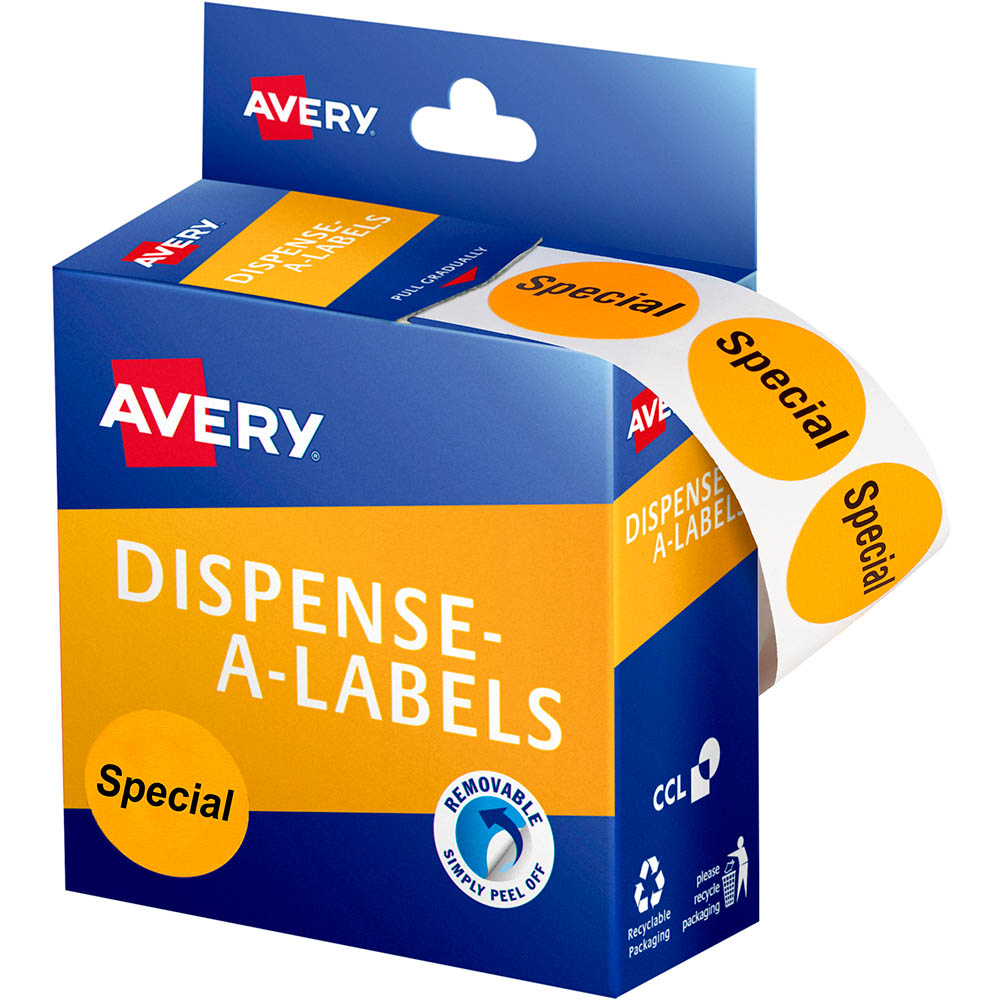 Image for AVERY 937312 MESSAGE LABELS SPECIAL 24MM ORANGE PACK 500 from Paul John Office National