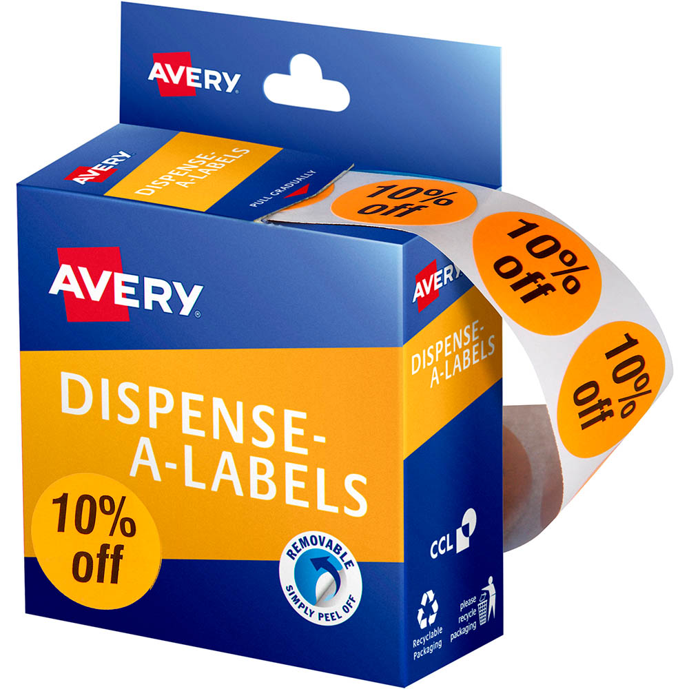 Image for AVERY 937313 MESSAGE LABELS 10% OFF 24MM ORANGE PACK 500 from Paul John Office National