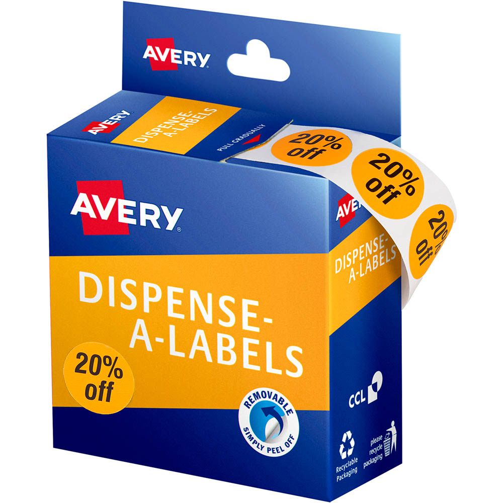 Image for AVERY 937314 MESSAGE LABELS 20% OFF 24MM ORANGE PACK 500 from Two Bays Office National