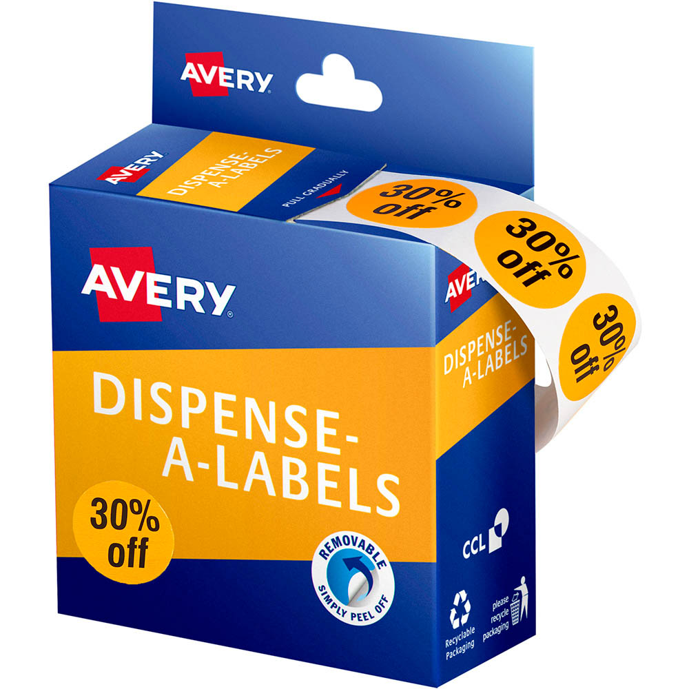 Image for AVERY 937316 MESSAGE LABELS 30% OFF 24MM ORANGE PACK 500 from Two Bays Office National