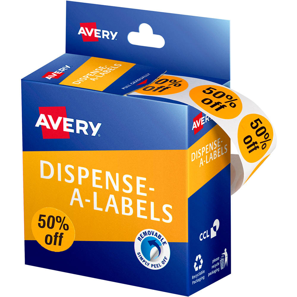 Image for AVERY 937317 MESSAGE LABELS 50% OFF 24MM ORANGE PACK 500 from Two Bays Office National