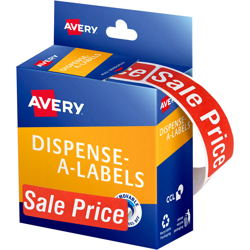Image for AVERY 937318 MESSAGE LABELS SALE PRICE 64 X 19MM RED PACK 250 from Paul John Office National