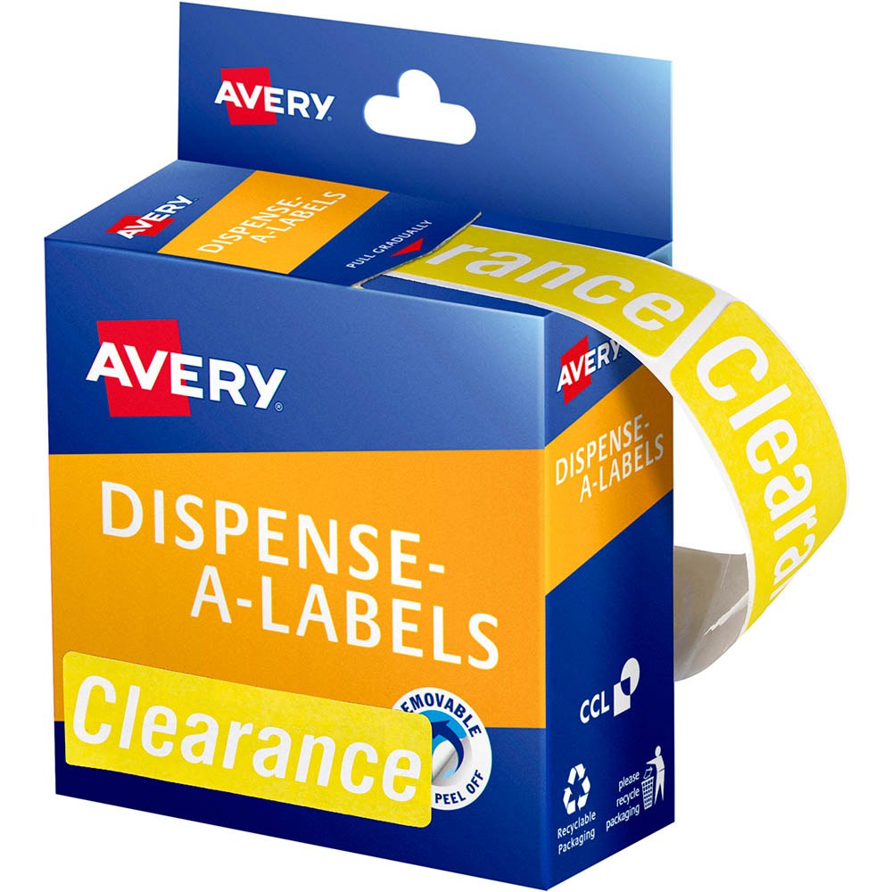 Image for AVERY 937319 MESSAGE LABELS CLEARANCE 64 X 19MM YELLOW PACK 250 from Axsel Office National