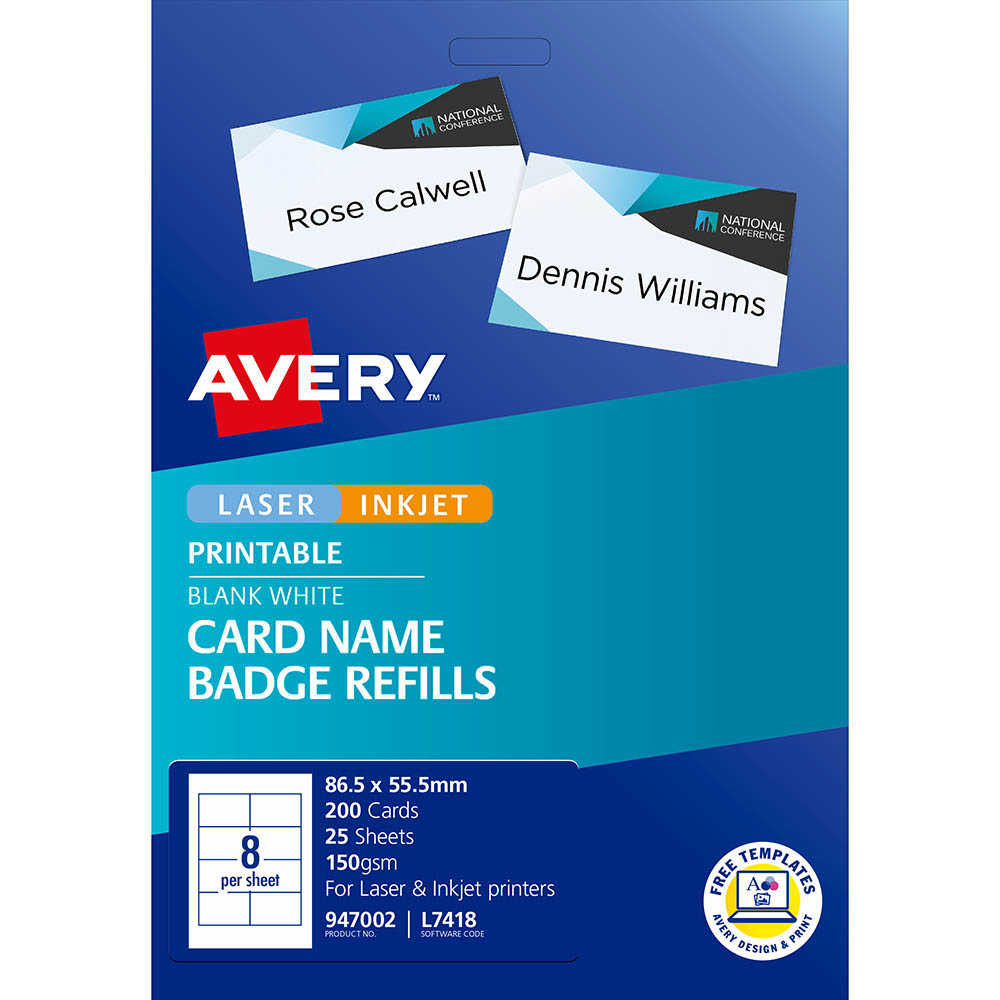 Image for AVERY 947002 L7418K NAME BADGE CARD REFILLS INKJET/LASER WHITE 150GSM 8UP 86.5 X 55.5MM PACK 200 from Axsel Office National