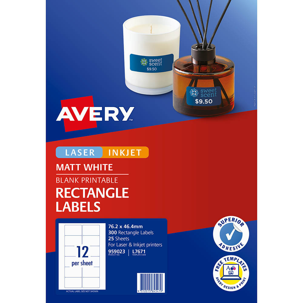 Image for AVERY 959023 L7671 VIDEO FACE LABEL LASER WHITE PACK 300 from Office National Perth CBD