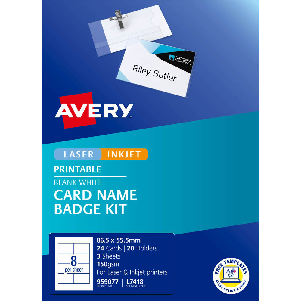 Image for AVERY 959077 L7418K NAME BADGE KIT MICROPERFORATED 86.5 X 55.5MM WHITE from Axsel Office National