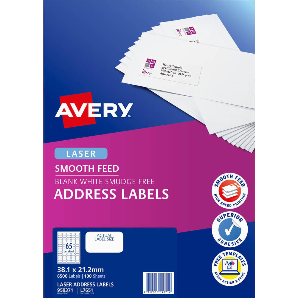 Image for AVERY 959371 L7651 LASER LABEL SMOOTH FEED WHITE PACK 100 from Axsel Office National