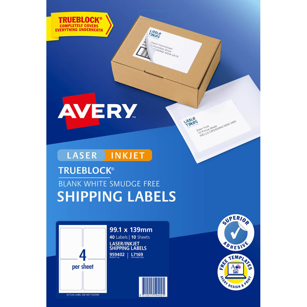 Image for AVERY 959402 L7169 TRUEBLOCK INTERNET SHIPPING LABEL LASER 4UP WHITE PACK 10 from Our Town & Country Office National