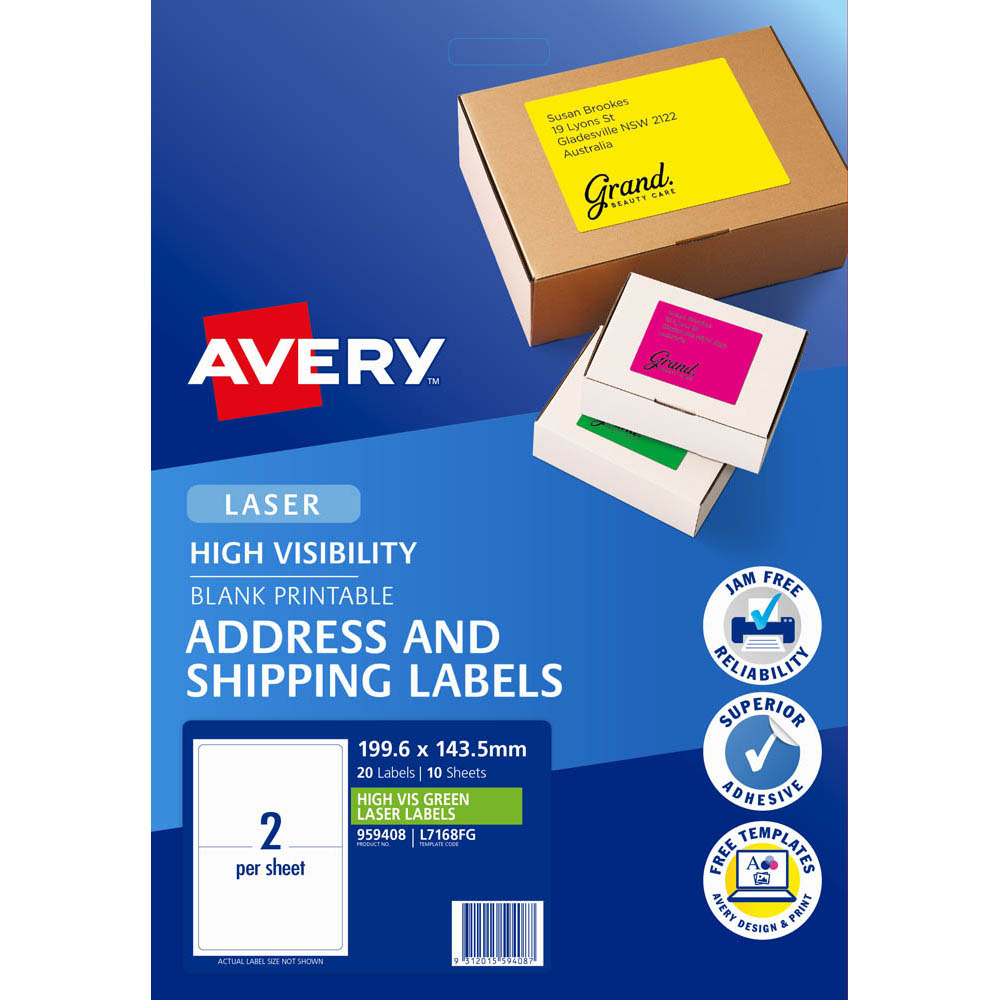 Image for AVERY 959408 L7168FG HIGH VISIBILITY SHIPPING LABEL LASER 2UP FLUORO GREEN PACK 10 from Our Town & Country Office National