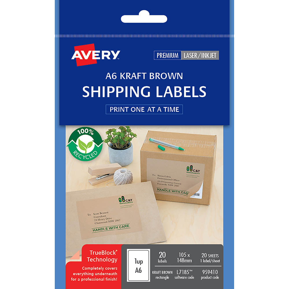 Image for AVERY 959410 L7185 100% RECYCLED SHIPPING LABEL A6 105 X 148MM KRAFT BROWN PACK 20 from Our Town & Country Office National