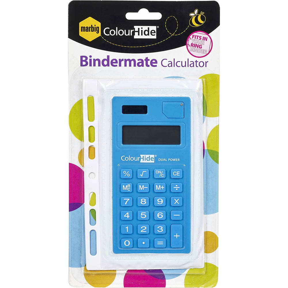 Image for BINDERMATE BINDER CALCULATOR BLUE from Mackay Business Machines (MBM)